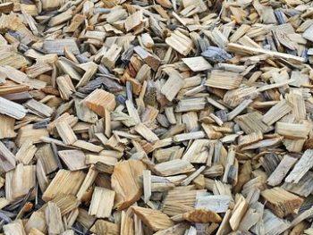 Bark mulch used in a garden bed.