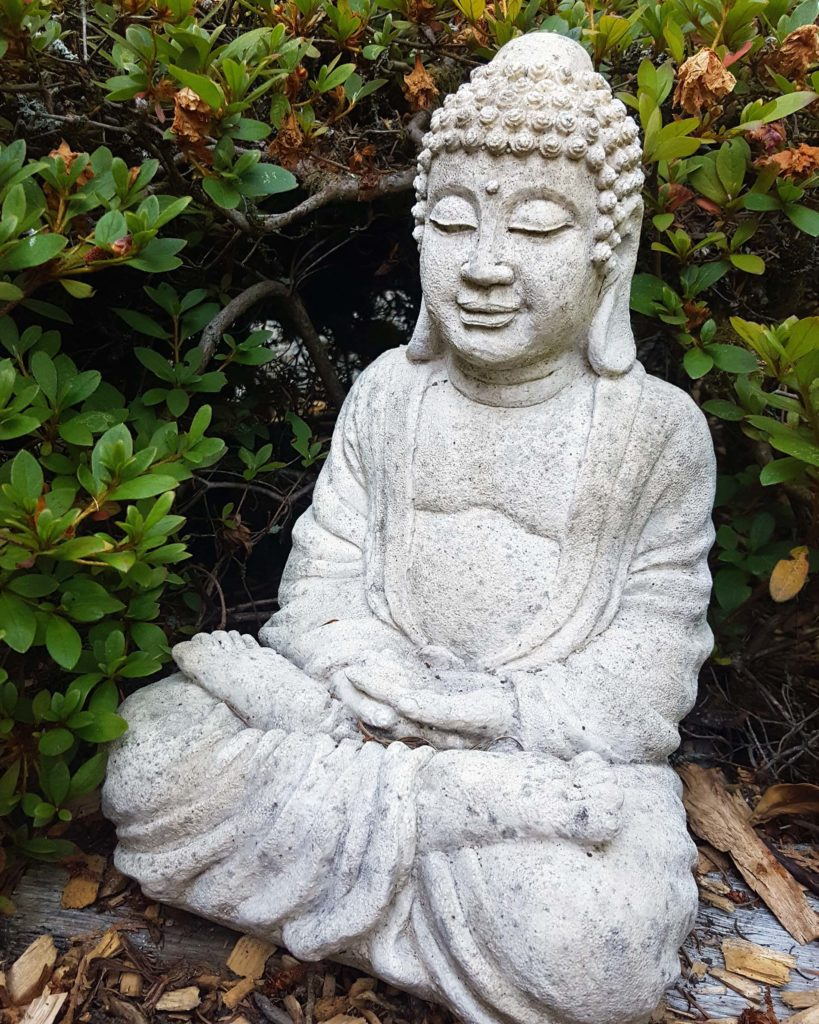 A garden Buddha is a potential piece of art for your garden. Highlighting various garden art, statues, and/or water features can great outdoor entertaining ideas!
