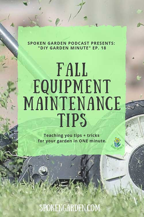 "A lawn mower spitting up pieces of freshly mown grass in Spoken Garden's ""Fall Equipment Maintenance Tips"" podcast advertisement"