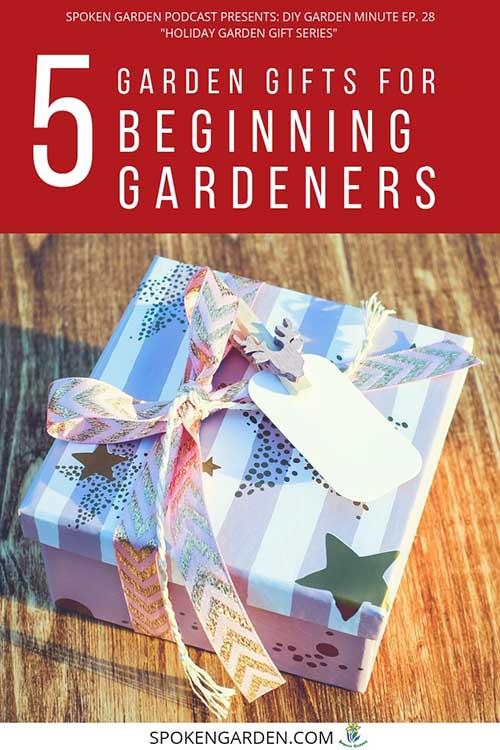 "A blue and white striped holiday present in Spoken Garden's ""5 Garden Gifts for Beginning Gardeners"" podcast advertisement."