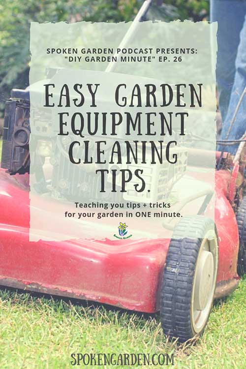 "A red lawnmower shows signs of wear and use in Spoken Garden's ""Easy Garden Equipment Cleaning Tips"" podcast advertisement"