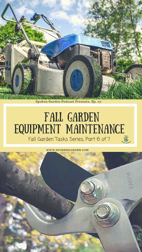 "A blue lawn mower and a pair of loppers as advertised in Spoken Garden's ""Fall Garden Equipment Maintenance"" podcast."
