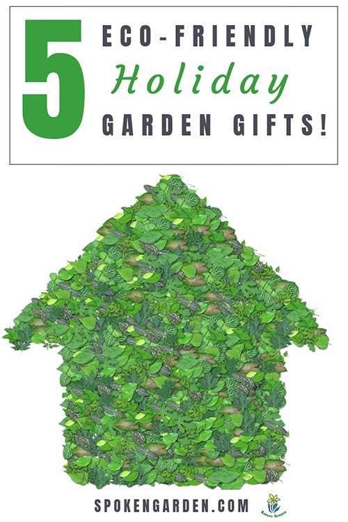 """A house image that has been covered with all kinds of green leaves in Spoken Garden's """"5 Eco-friendly Holiday Garden Gifts"""" podcast."""