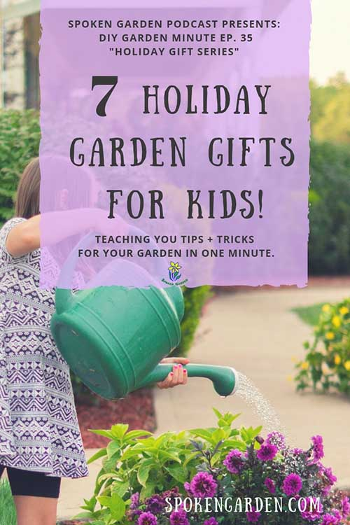 "A young girl wearing a purple dress waters purple flowers using a watering can in Spoken Garden's ""7 Holiday Garden Gifts For Kids"" podcast advertisement."