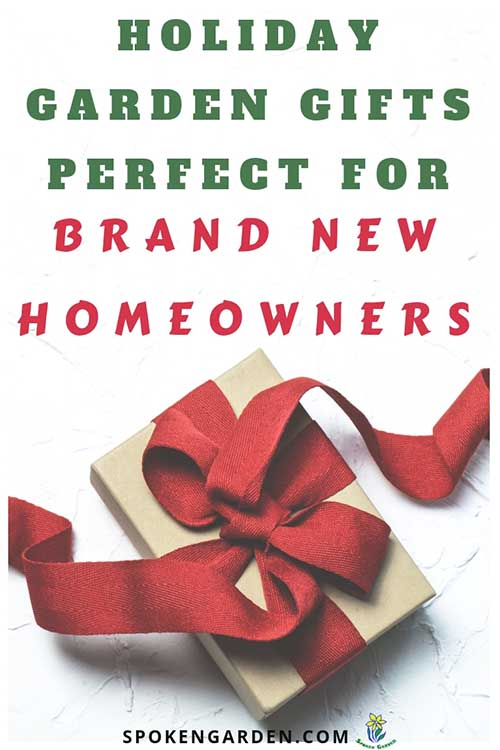 "A wrapped gift with a red bow as advertised in Spoken Garden's ""Gift Ideas for New Homeowners"" podcast."