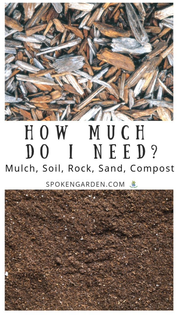 Wood mulch and soil with text overlay in Spoken Garden's podcast advertisement