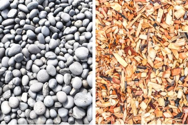 Rock mulch and wood mulch side by side