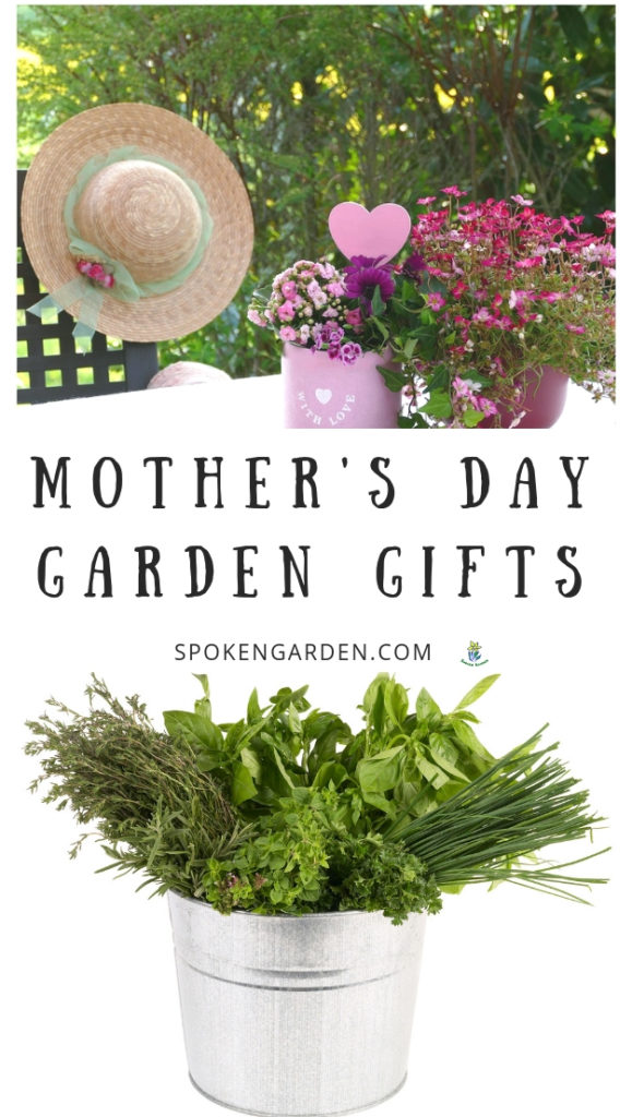 Gardening hat and Mother's Day flowers in Spoken Garden's podcast