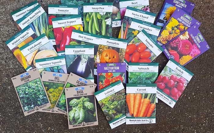 Variety of heirloom garden seeds