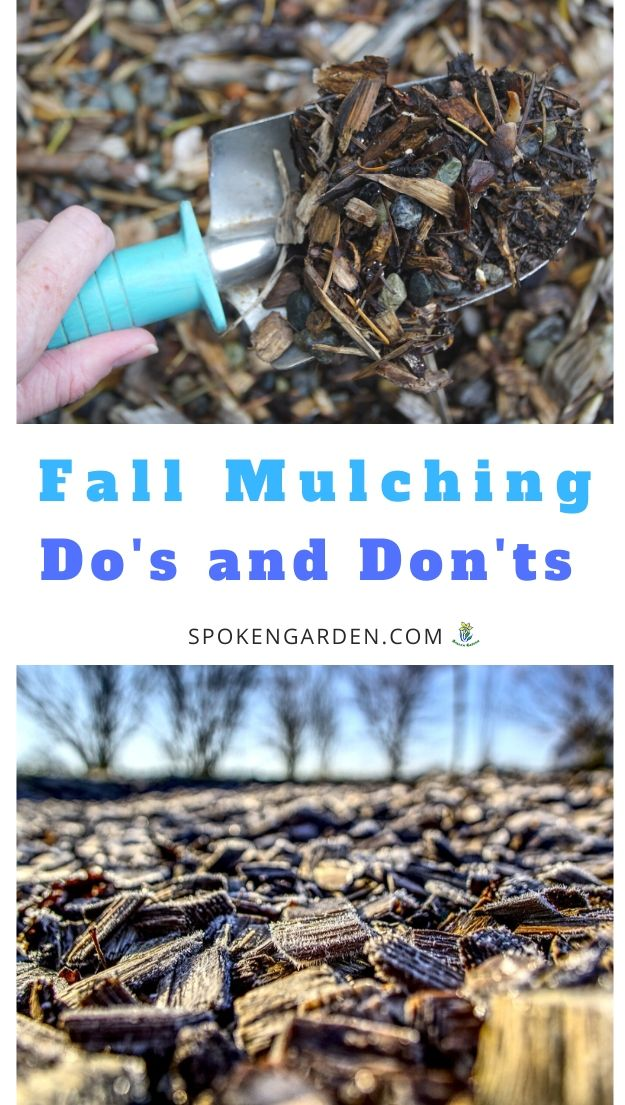 Fall mulching with text overlay.