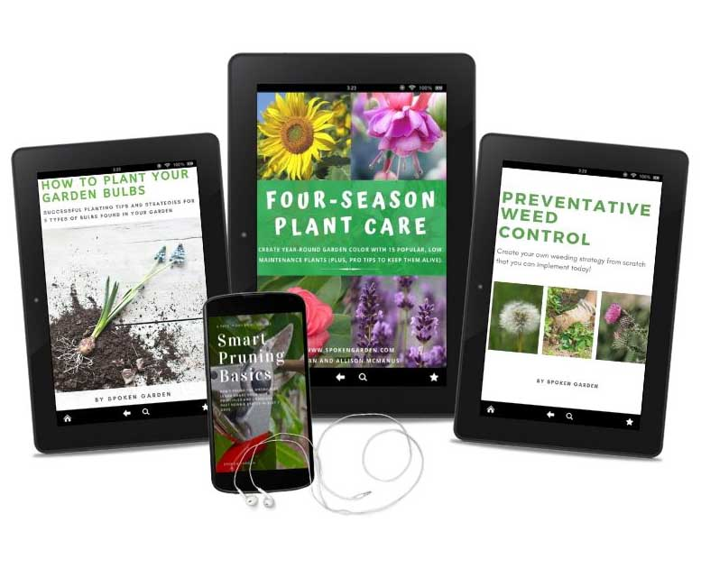 3 tablets and one mobile device with plant care-related educational tools for beginning gardeners