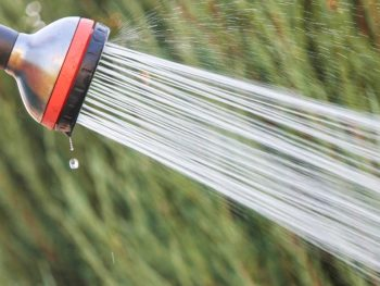 Water nozzle actively spraying water.