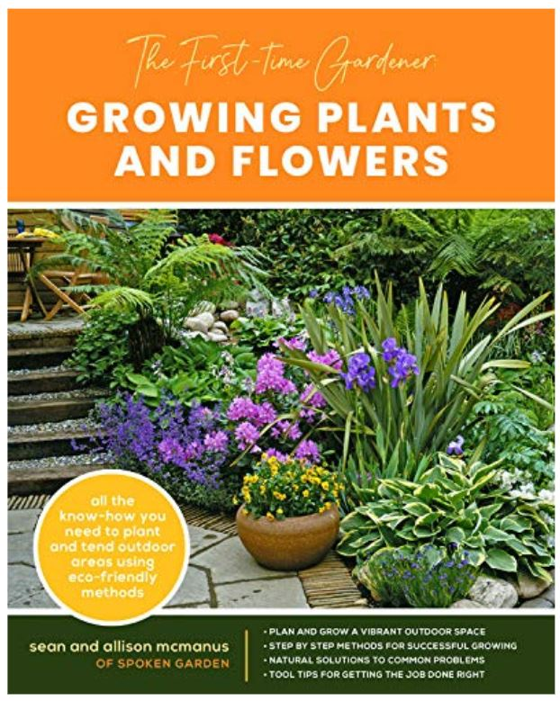 Book cover photo showing plants on patio off stairs that new gardeners can grow easily.